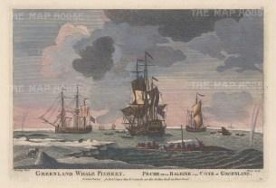 "Sayer: Whale Fishery, Greenland. c1770. A hand coloured original antique copper engraving. 12"" x 8"". [SCANp238]"