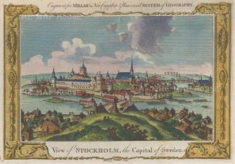 "Millar: Stockholm, Sweden. 1782. A hand coloured original antique copper engraving. 12"" x 8"". [SCANp321]"