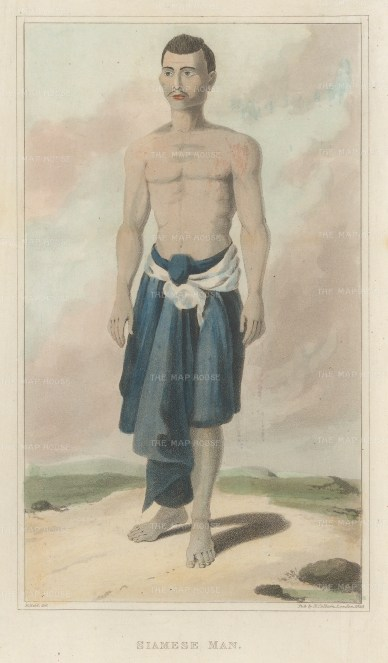 "Crawfurd: Siamese Man. 1830. A hand coloured original antique mixed method engraving. 5"" x 8"". [SEASp1631]"