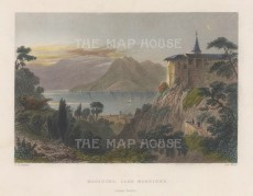 "Bartlett: Lake Maggiore. 1836. A hand coloured original antique steel engraving. 8"" x 6"". [SWIp743]"