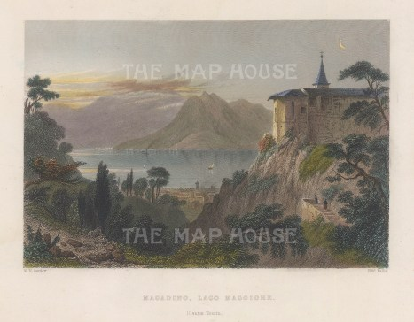"Bartlett: Lake Maggiore. 1836. A hand coloured original antique steel engraving. 8"" x 6"". [SWIp743]"
