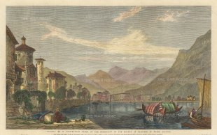 "Illustrated London News: Lake Lugano, Switzerland. 1865. A hand coloured original antique wood engraving. 14"" x 8"". [SWIp772]"