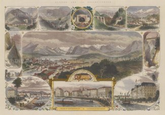 Lucerne: Panoramic view of the city with 10 vignettes of Luzernerhof and Schweizerhof.