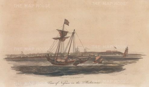 "Gold: Nassau, Bahamas. 1799. A hand coloured original antique aquatint. 9"" x 5"". [WINDp1014]"