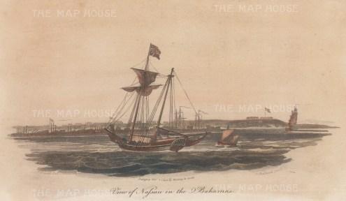 "Gold: Nassau, Bahamas. 1799. A hand coloured original antique steel engraving. 9"" x 5"". [WINDp1014]"