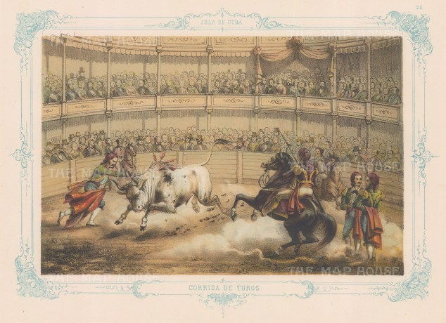 Cuba: Corridos de Toros (Bull-fighting). With decorative blue border. From the 2nd 'pirate' edition by Bernardo May.