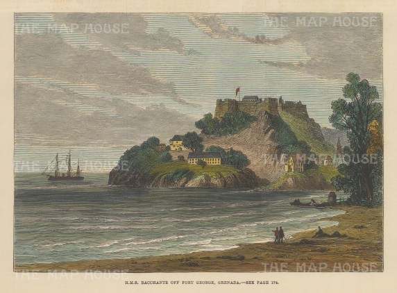"""Illustrated London News: Fort George, Grenada. 1880. A hand coloured original antique wood engraving. 8"""" x 5"""". [WINDp1140]"""