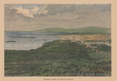 "Reclus: Port au Prince, Haiti. 1894. A hand coloured original antique wood engraving. 7"" x 5"". [WINDp1195]"