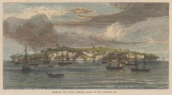 "Illustrated London News: Sombrero, Antilles. c.1865. A hand coloured original antique wood engraving. 8"" x 5"". [WINDp1224]"