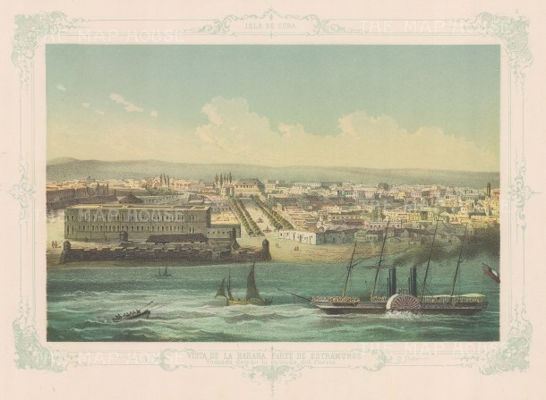 Cuba: Havana. View of the city walls and the entrance to the port, with decorative blue border. From the 2nd 'pirate' edition by Bernardo May.