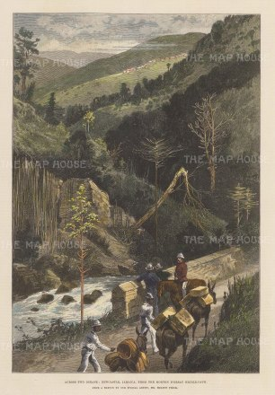 """Illustrated London News: Newcastle, Jamaica. 1888. A hand coloured original antique wood engraving. 10"""" x 14"""". [WINDp794]"""