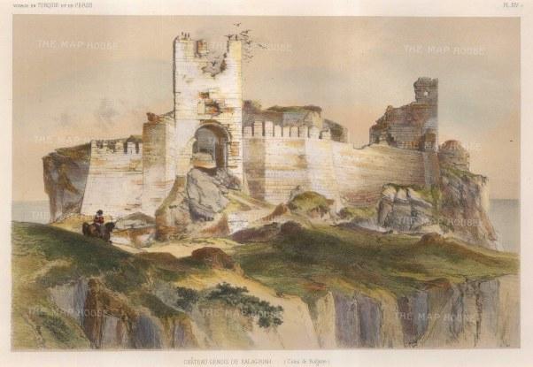 "de Hell: Kalagriah Castle, Bulgaria. 1853. A hand coloured original antique lithograph. 13"" x 8"". [CEUp439]"