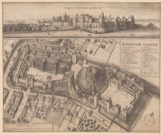 Aerial view of the castle and grounds with key. This extraordinary perspective represents a hallmark of Hollar's imaginative technique.