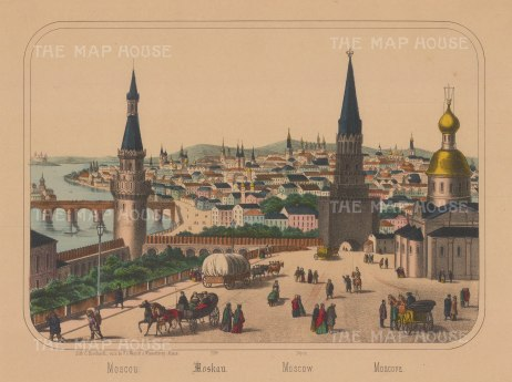 Panoramic view of Moscow from the Kremlin over the city and Volga river.