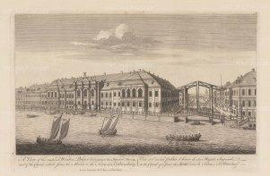 "Sayer: Winter Palace, St. Petersburg. 1774. An original antique copper engraving. 18"" x 12"". [RUSp670]"