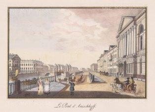 View of the first Anichkov Bridge and the Fontanka river embankment.