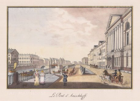 "Alexandriev: Anichkov Bridge, St Petersburg. 1828. A hand coloured original antique lithograph. 16"" x 12"". [RUSp707]"