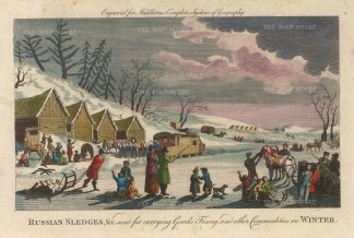 "Middleton: Russian Sledges. 1778. A hand coloured original antique copper engraving. 9"" x 7"". [RUSp759]"