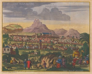 Schamachie (Shrivan). Panorama of the city ceded by Persia to Imperial Russia in 1828.