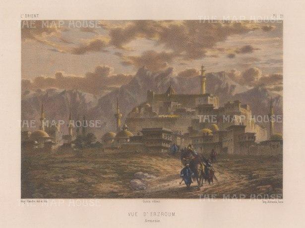 "Flandin: Karin (Erzroum), Armenia. 1842. A hand coloured original antique lithograph. 11"" x 7"". [RUSp780]"
