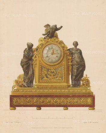 Ormolu mounted Red Marble Mantle Clock with Bronze classical figures.