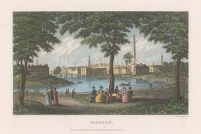"""Kelly: Glasgow. 1832. A hand coloured original antique steel engraving. 6"""" x 5"""". [SCOTp1698]"""