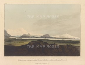 "Mackenzie: Eyafialla Iokul, Mount Hekla and Elvas River, Iceland. 1811. An original colour antique aquatint. 7"" x 5"". [SCANp363]"