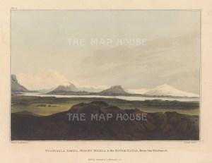 "Mackenzie: Eyafialla Iokul, Mount Hekla and Elvas River, Iceland. 1811. An original colour antique aquatint. 7"" x 5"". [SCANp363]"
