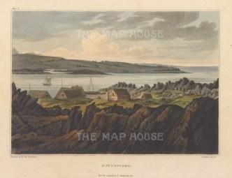"""Mackenzie: Havnefiord, Iceland. 1811. An original colour antique aquatint. 7"""" x 5"""". [SCANp365]"""