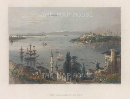 "Bartlett: Sarayburnu (Seraglio Point), Istanbul. 1838. A hand coloured original antique steel engraving. 8"" x 5"". [TKYp1338]"