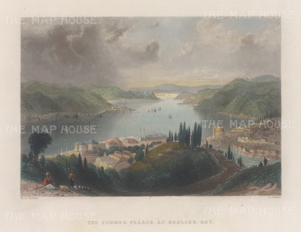 """Bartlett: Beglier Bey (Governor's) Summer Palace, Istanbul. 1838. A hand coloured original antique steel engraving. 8"""" x 5"""". [TKYp1339]"""
