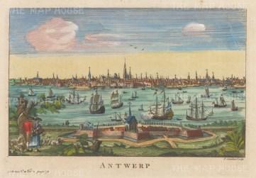 "Salmon: Antwerp, Belgium. 1759. A hand-coloured original antique copper engraving. 10"" x 6"". [BELp270]"