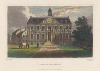 """Meyer: Newport, Rhode Island. 1837. A hand-coloured original antique steel engraving. 6"""" x 4"""". [USAp4944]"""