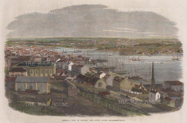 "Illustrated London News: Sydney. 1861. A hand coloured original antique wood engraving. 14"" x 10"". [AUSp742]"