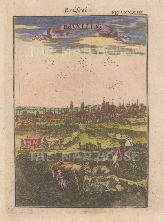 "Mallet: Brussels, Belgium. 1719. A hand coloured original antique copper engraving. 4"" x 6"". [BELp268]"