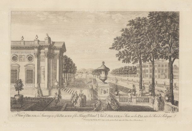 View of the gardens of Pillnitz Palace summer palace of Frederick Augustus I.
