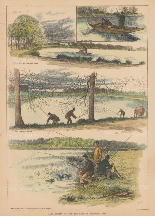 """Illustrated Sporting and Dramatic News: Pike Fishing. 1882. A hand coloured original antique wood engraving. 10"""" x 14"""". [FIELDp1567]"""