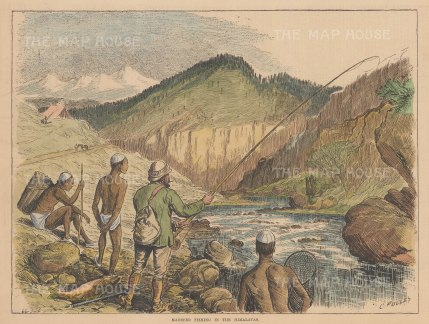"""Illustrated Sporting and Dramatic News: Madseer Fishing. 1882. A hand coloured original antique wood engraving. 14"""" x 10"""". [FIELDp1569]"""