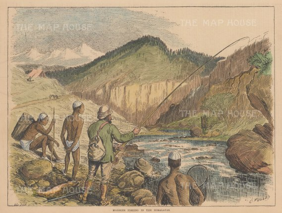 "Illustrated Sporting and Dramatic News: Madseer Fishing. 1882. A hand coloured original antique wood engraving. 14"" x 10"". [FIELDp1569]"