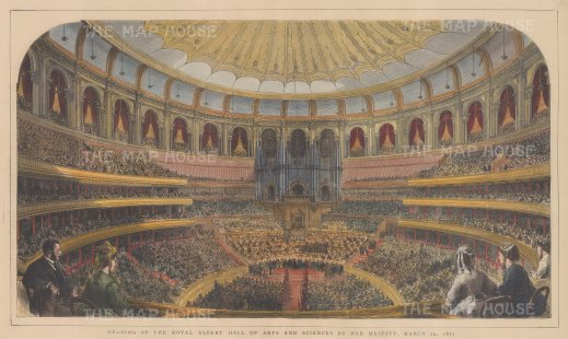 Interior panorama of the opening of the Hall by Queen Victoria 29 March 1871.