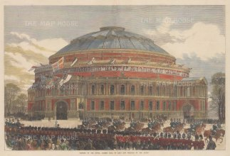 "Illustrated London News: Royal Albert Hall. 1871. A hand coloured original antique wood engraving. 20"" x 14"". [LDNp10695]"