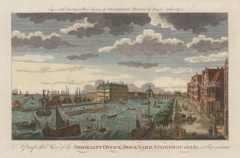 "Bankes: Amsterdam, Netherlands. c1780. A hand coloured original antique copper engraving. 11"" x 8"". [NETHp163]"