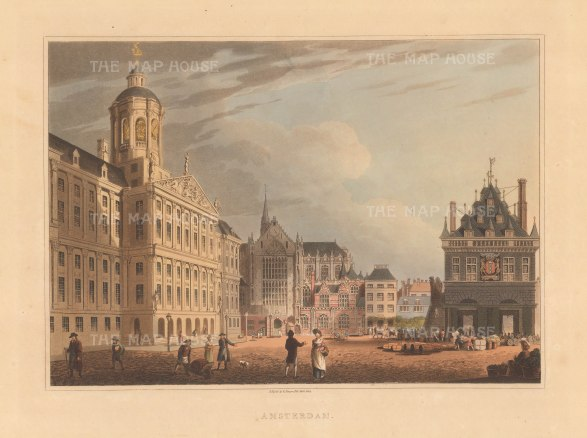 Dam Square. View of the Royal Palace, Nieuwe Kerk (New Church) and the Waag (Wiegh House), now demolished.