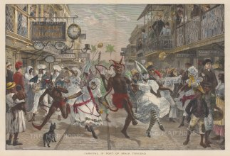 Trinidad: Port of Spain. Contemporaneous depiction of the carnival with the central figure of the devil. After renowned quick sketch artist and war correspondent Melton Prior.