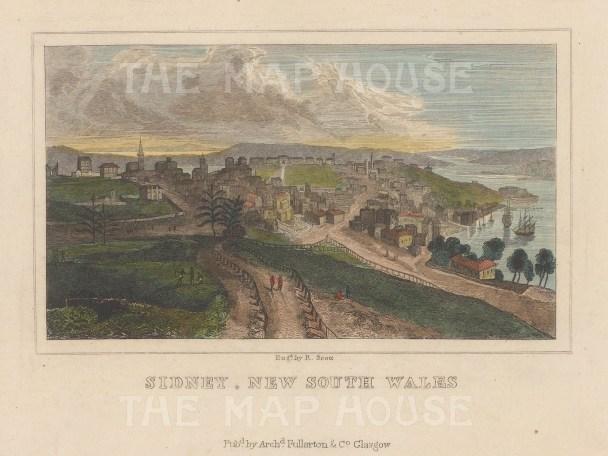 "Fullarton: Sydney. 1838. A hand coloured original antique steel engraving. 5"" x 4"". [AUSp737]"
