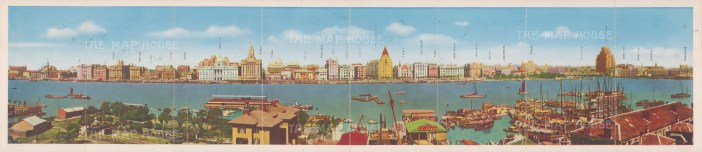 Panorama of Shanghai: View over the Huangpu river. With key in Chinese.