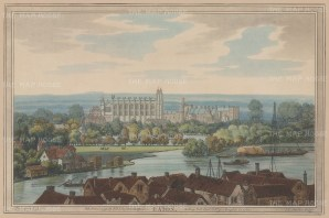 View of the school from a distance, with the river in the foreground. After Joseph Farington.
