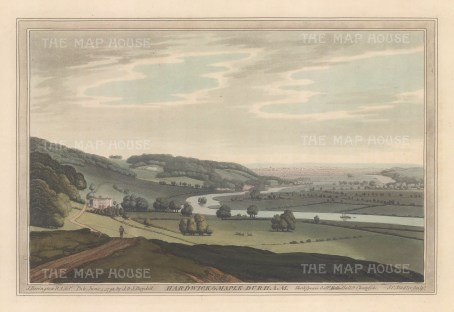 Maple Durham: View from the environs of the village, Thames and Hardwicke House. After John Farington.