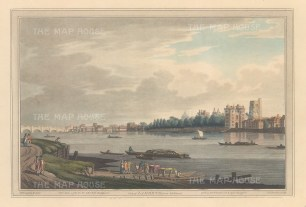 View from Lambeth of Lambeth Palace and Westminster Bridge. After Joesph Farington.