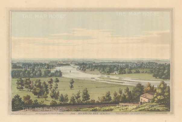 Richmond. View up the Thames from Richmond Hill. After Joseph Farington.
